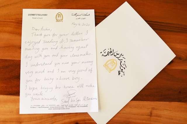 لفته إنسانية من الشيخ سعود بن صقر القاسمي : إعادة الام لطفلها