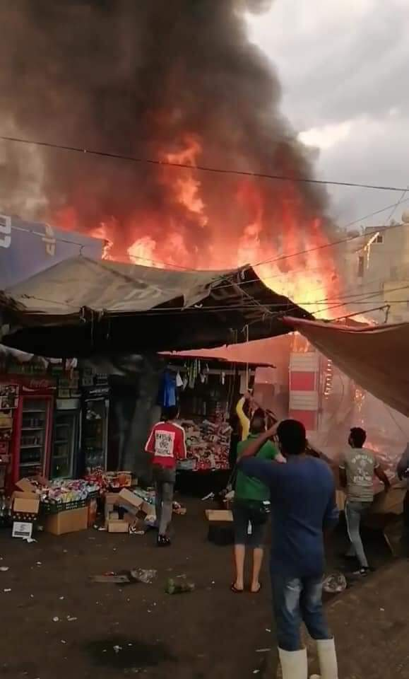 ربنا يعوض عليهم.. حريق هائل بسوق محطة مصر بالإسكندرية