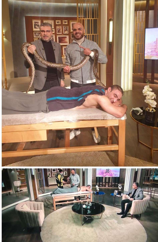 بالصور.. أغرب جلسة علاج طبيعى بالفوطة النارية والثعابين