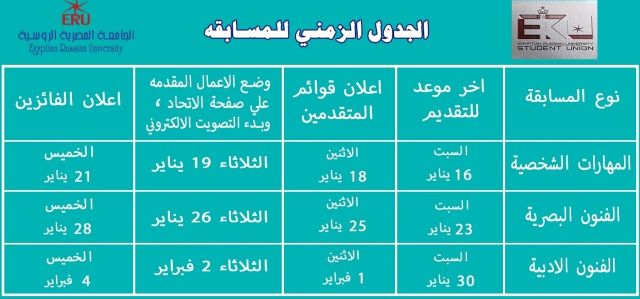 مواعيد الأنشطة الطلابية بالجامعة المصرية الروسية..شوف شروط التقديم