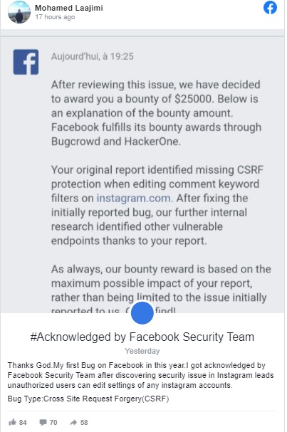 شاب أنقذ فيسبوك والمكافأة.. 25 ألف دولار