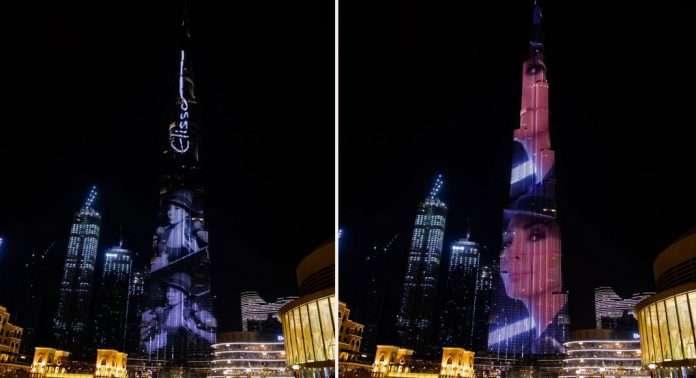 اتفرج - وجه إليسا على برج خليفة في دبي