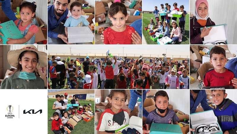 كيا ويويفا يجمعان ٣٠٠٠ حذاء رياضي لأطفال مخيم الزعتري