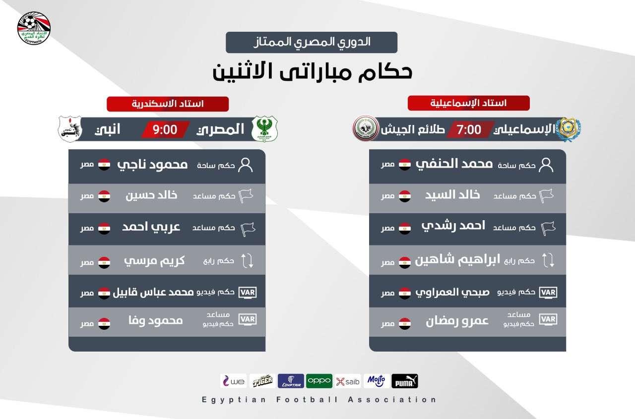 اعرف.. حكام مباراتى غداً الإثنين في الدورى المصري