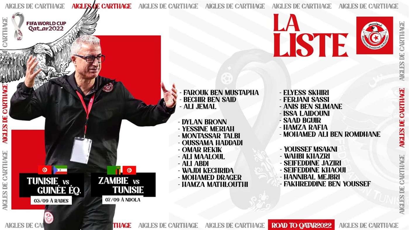 قائمة منتخب تونس لمباراتي غينيا وزامبيا