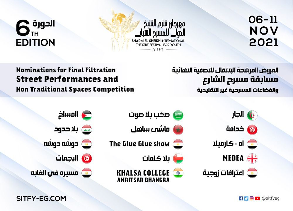 القائمة القصيرة للعروض المرشحة للدورة السادسة لمهرجان شرم الشيخ
